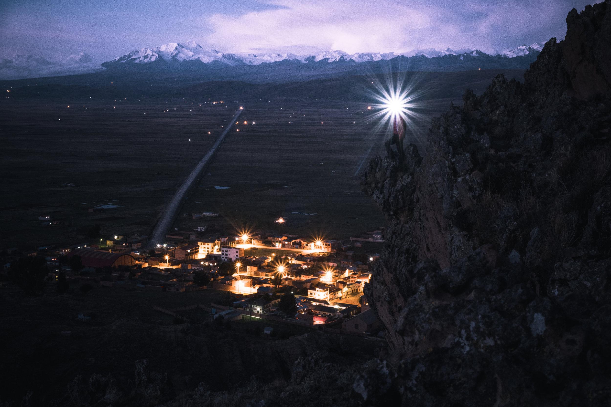Blue hour above the village Peñas | La Paz