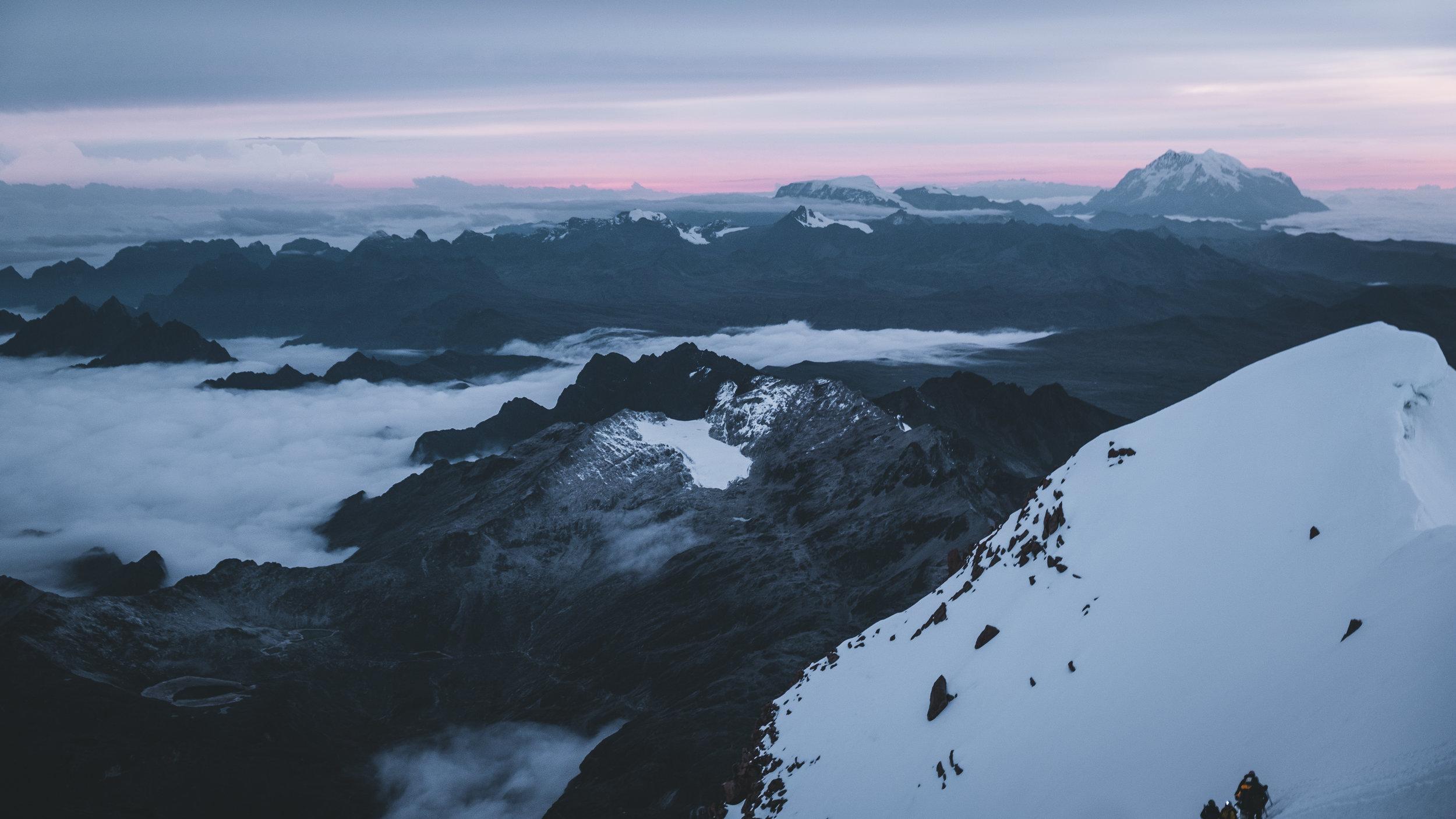 Sunrise high above the clouds | Huayna Potosí