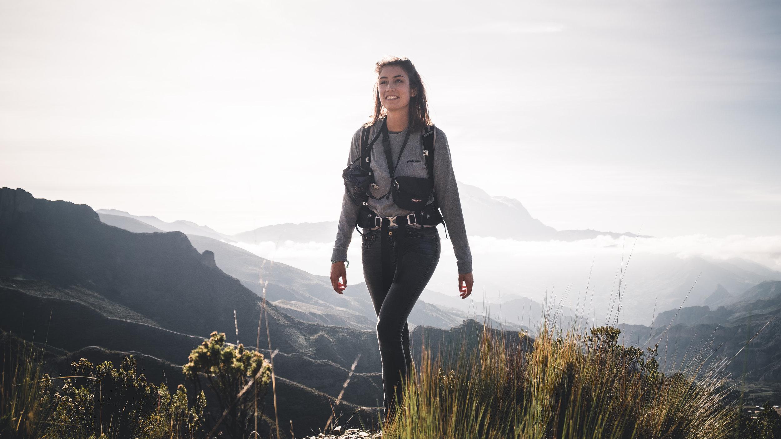 Portrait of Ramona, hiking in the morning sun