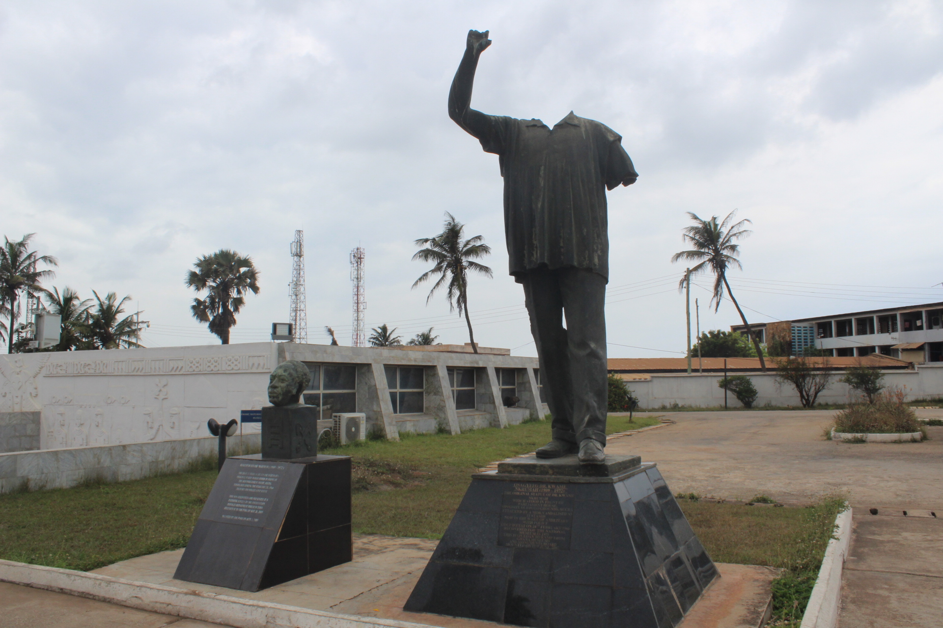When he was overthrown, this earlier statue of him was vandalized. A patriotic citizen returned the head years later.