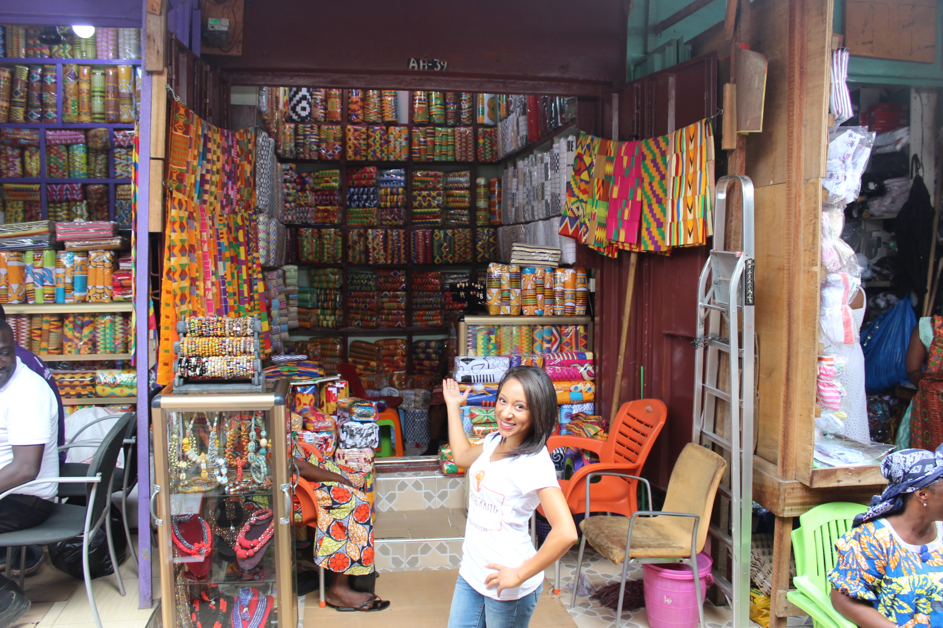 A typical Kente booth in the market