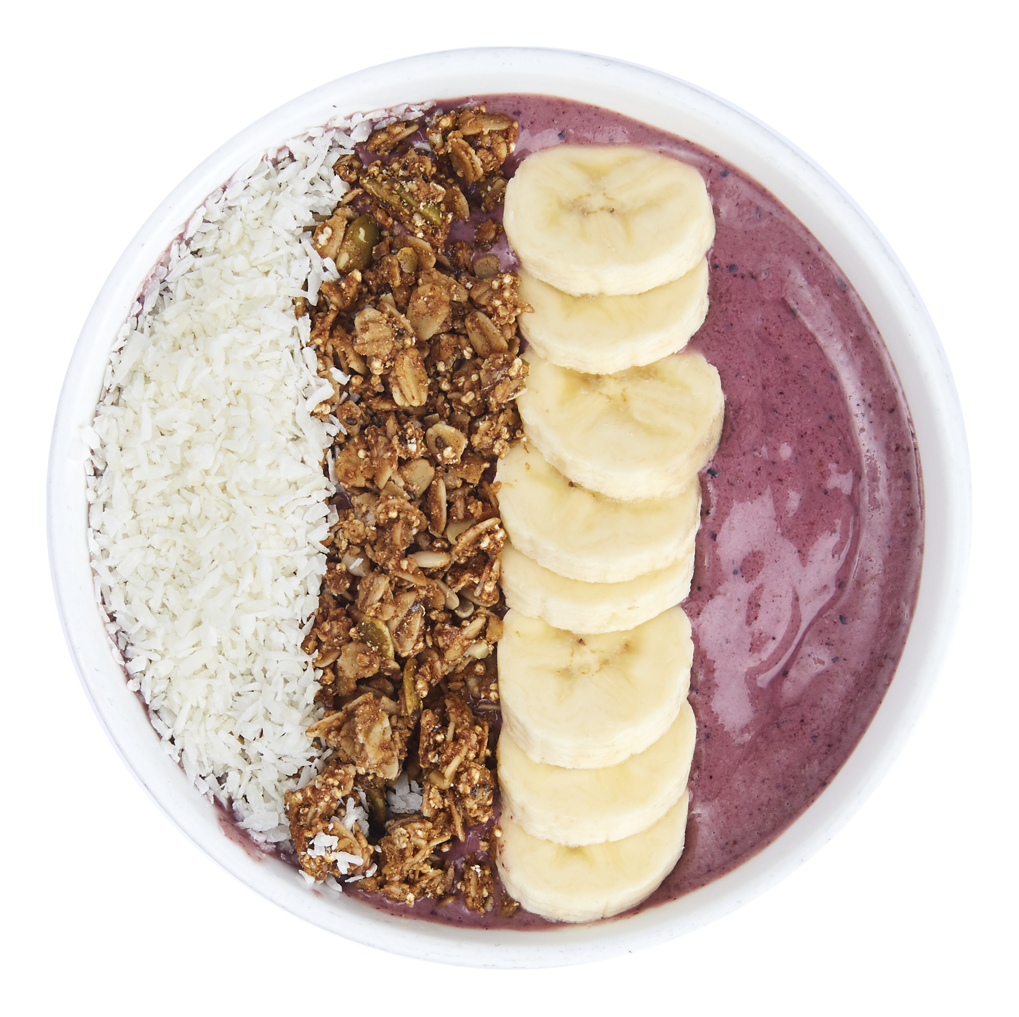 Açai Berry Bowl  - $10.99  Banana, acai, mixed berries, almond butter, almond milk  Toppings: banana, shredded coconut, granola.