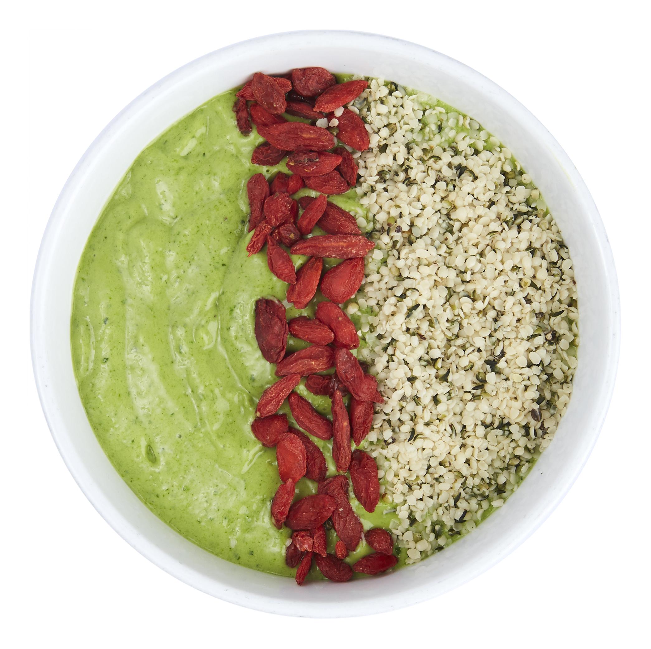 Green Matcha Bowl - $10.50  Banana, kale, spinach, mango, avocado, almond milk.  Toppings: hempseed, goji berry
