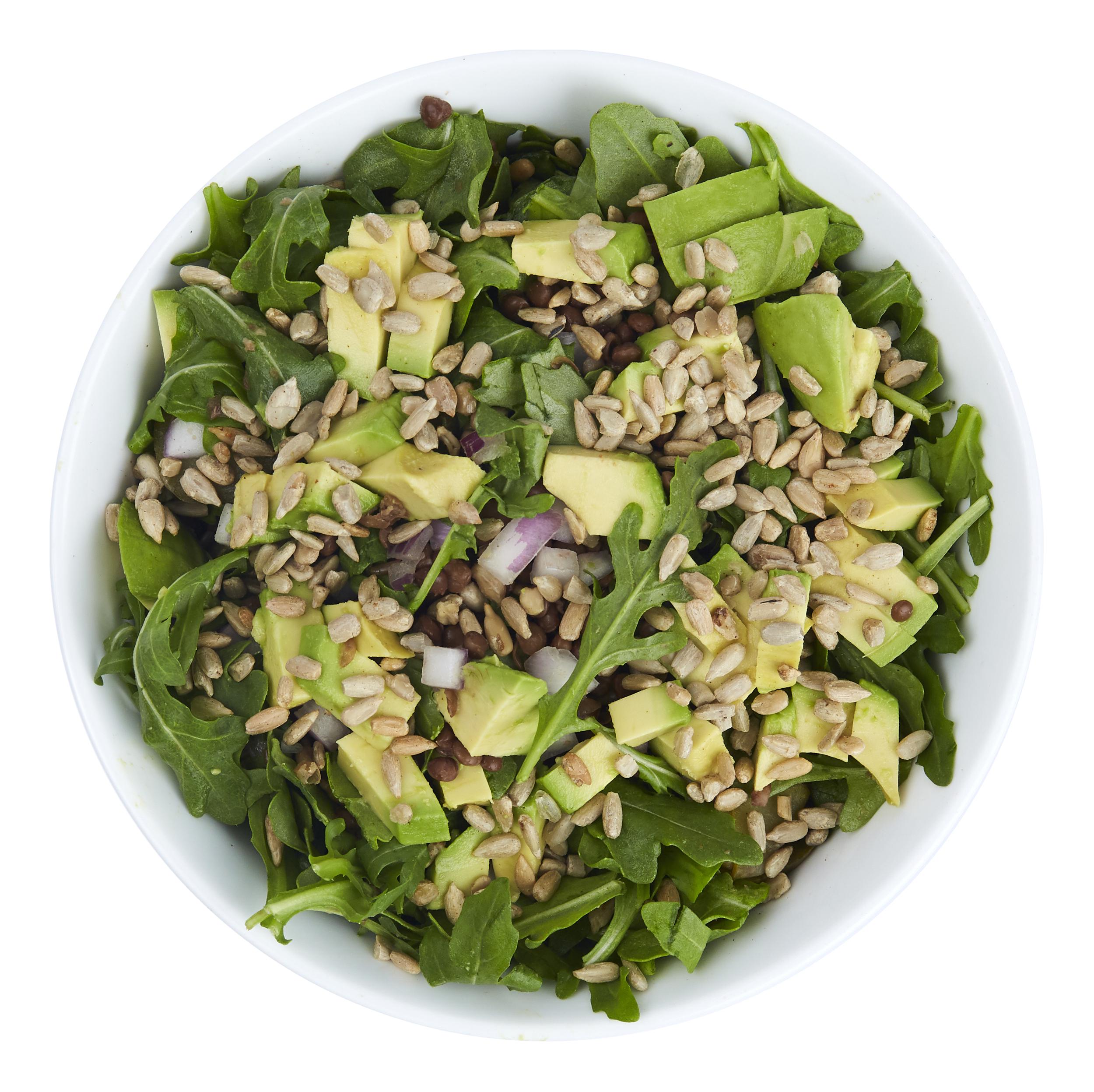 Power Lentil Salad - $10.99  Lentils, arugula, pickles, avocado, spicy sunflower seeds, onions, honey-mustard dressing