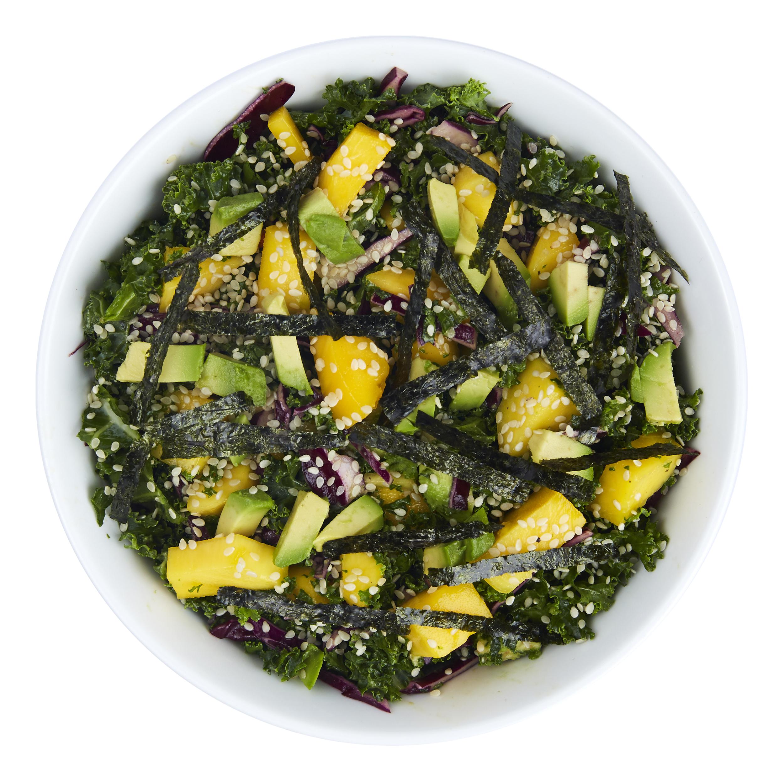 Summer Seaweed Salad - $10.99  Kale, mango, cabbage, avocado, sesame seeds, ginger, nori strips, miso dressing