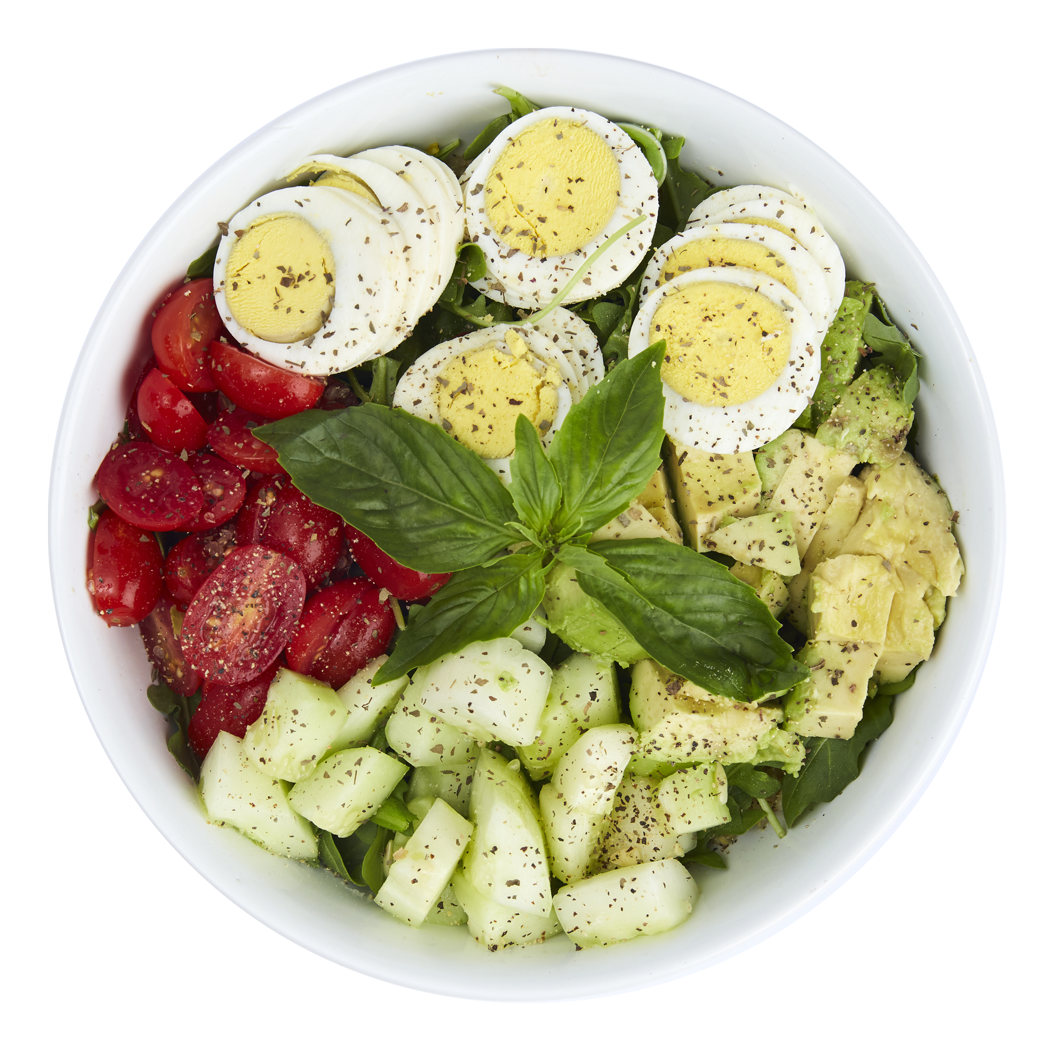 Quinoa Egg Bowl  - $10.50  Quinoa, arugula, tomatoes, cucumber, avocado, egg, olive oil, basil