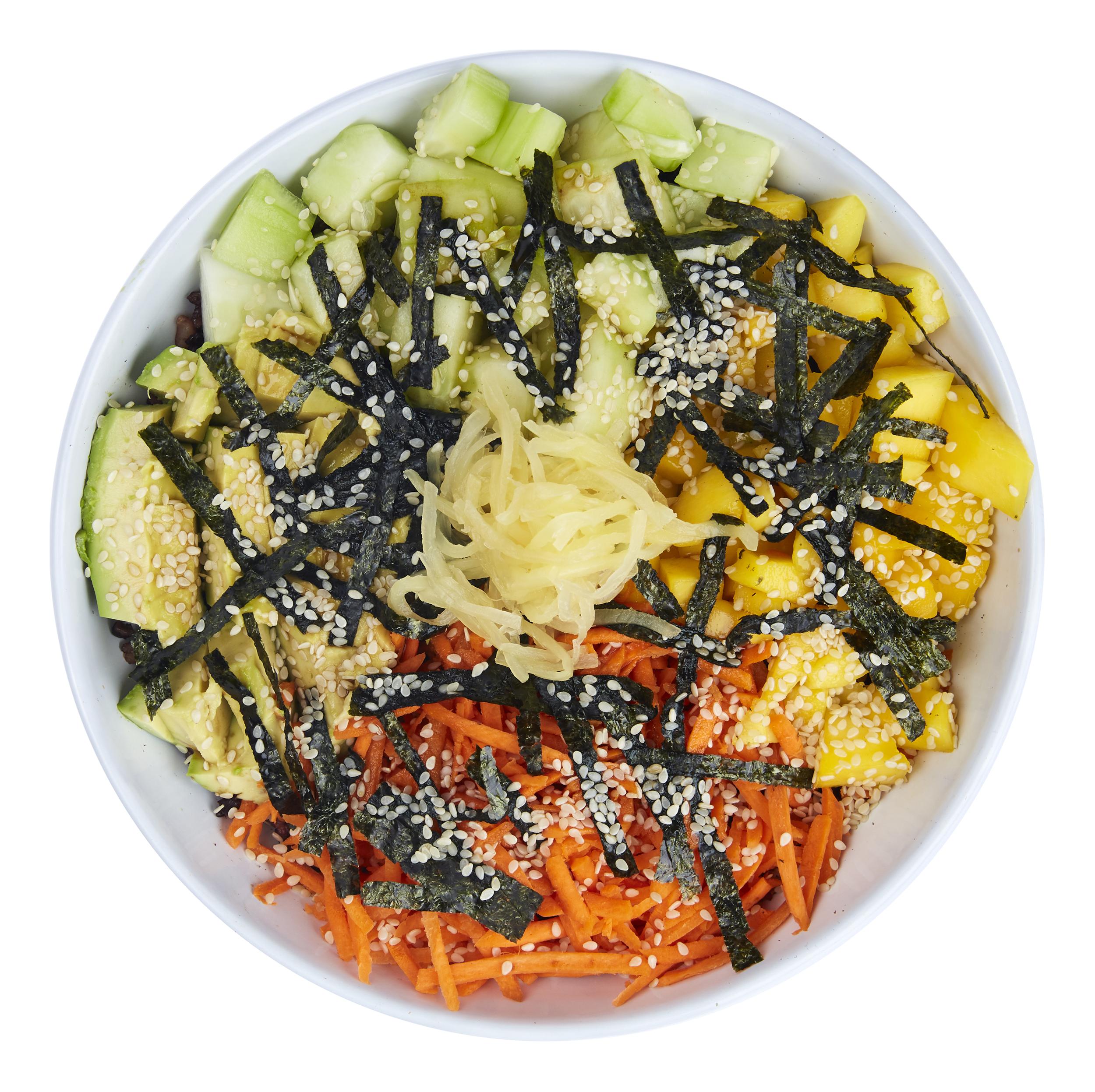 Vegan Sushi Bowl  - $10.50  Rice blend, avocado, mango, cucumbers, carrots, nori strips, ginger, coconut amino sauce