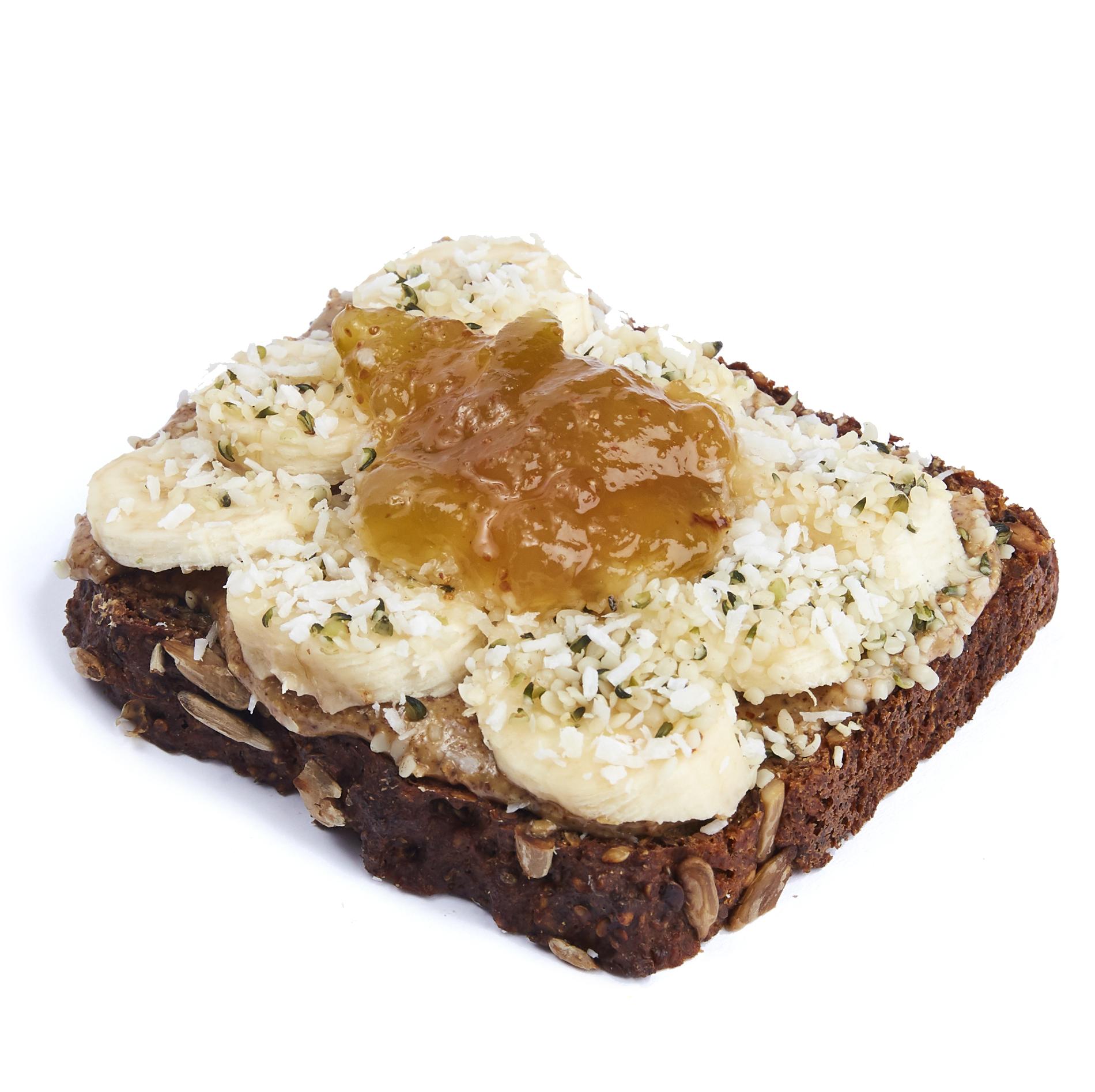 Almond butter and royal fig tartine - $10.99  Almond butter, banana, hempseed, shredded coconut, royal fig jam