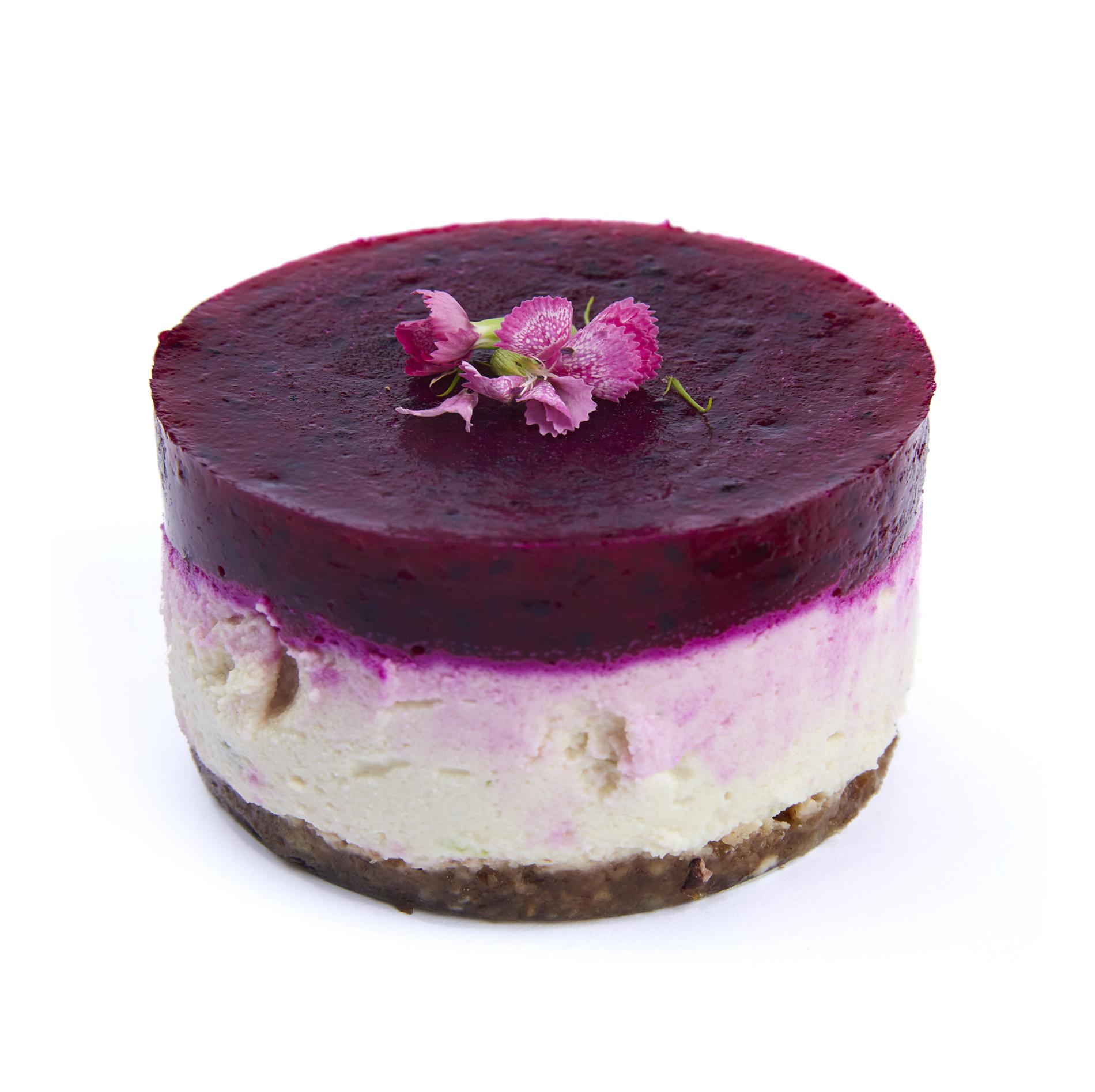 Pink dragon cheesecake - $6.99  Walnut-date base, almond cheese, pink dragon pure; raw vegan