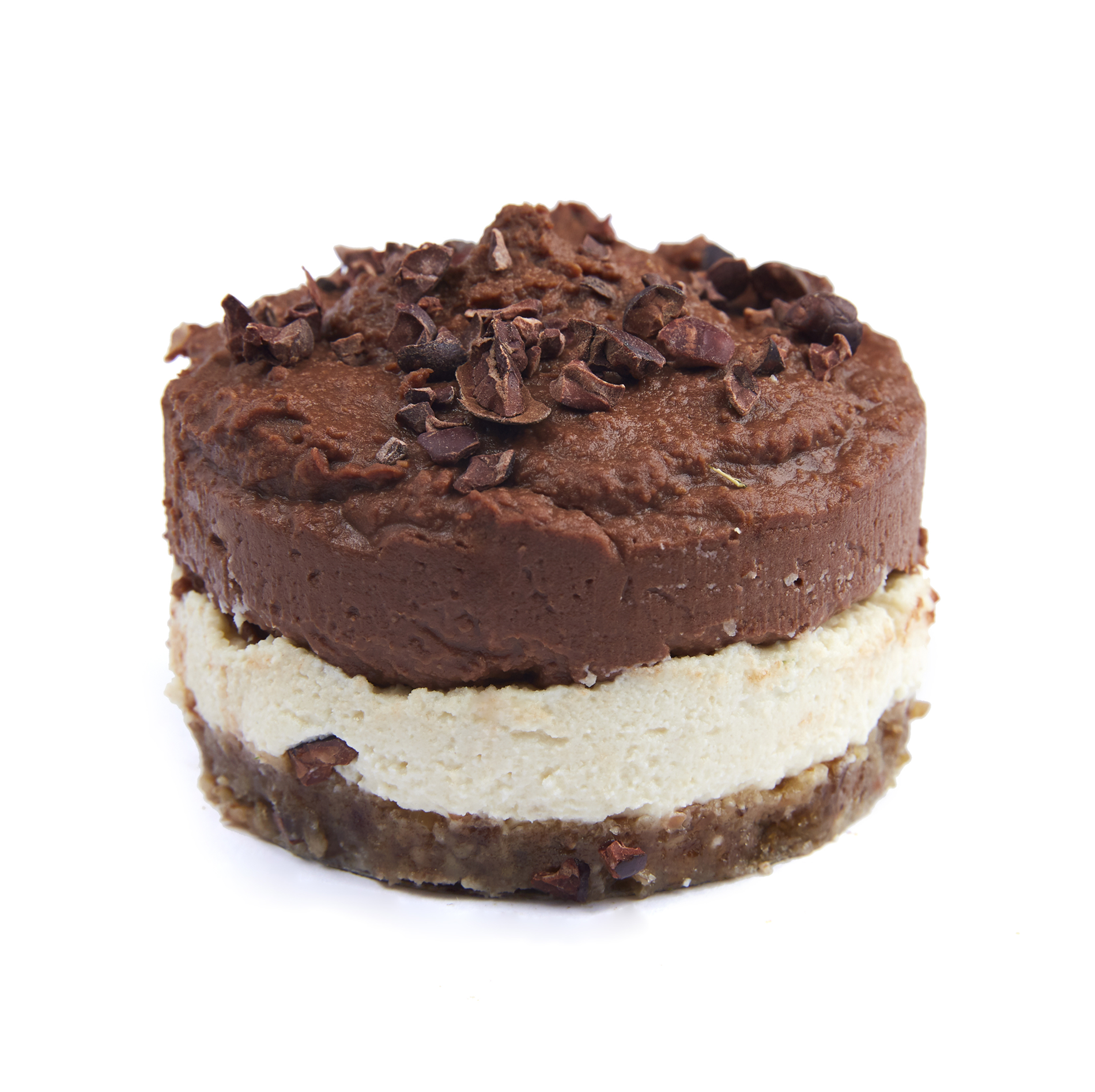 Chocolate cheesecake - $6.99  Walnut-date base, almond cheese, chocolate hummus; raw vegan