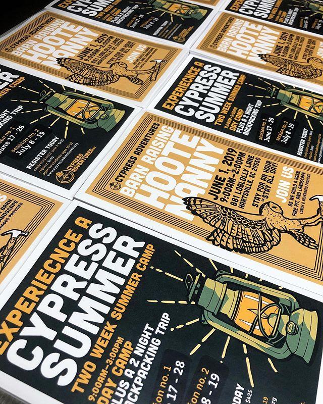 Love seeing our work hot off the press 😍 . . . . @cypressadventures #fangandclawstudio #hartsvillesc #experiencehartsville #supportlocal #cypressadventures #nonprofit #posterdesign #graphicdesign #illustration #typography #typographydesign #adobeillustrator #adobedraw #procreate #procreateillustration