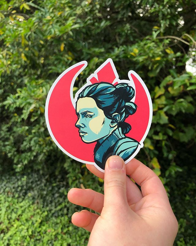 Jedi Rey has hit the shop! Click the link in bio to snag em up - & while you're there check out our Labor Day sale. Got all 3 of your beloved Star Wars ladies 20% off until Wednesday ✨ . . . . #fangandclawstudio #etsyshop #stickers #stickershop #slapsticker #slaps #vinylstickers #starwars #starwarsstickers #reystarwars #rey #lastjedi #procreate #procreateillustration #adobeillustrator #illustration #labordaysale