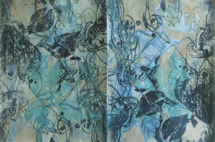 "Surfacing 1 (diptych) 30"" x44"", lithography, dremel-engraving, and hand painting"