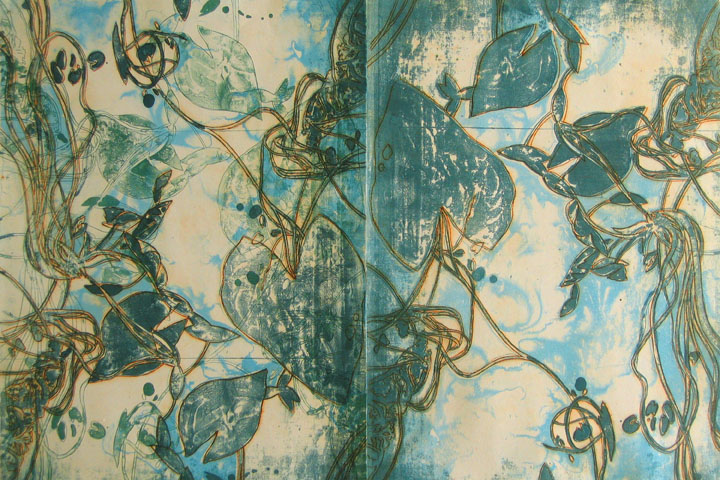"""Surfacing 1 (diptych) 30"""" x44"""", lithography, dremel-engraving, and hand painting"""