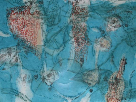 """Debris, 30"""" x 42"""" intaglio and lithography"""
