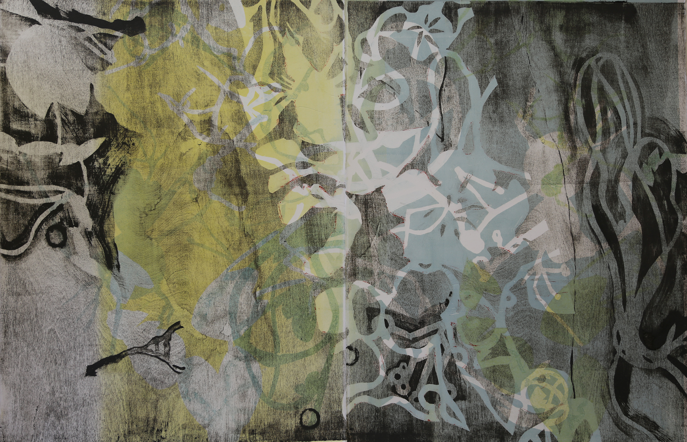 """Permeable Membrane, 30"""" x 42"""" (diptych), wood lithography"""