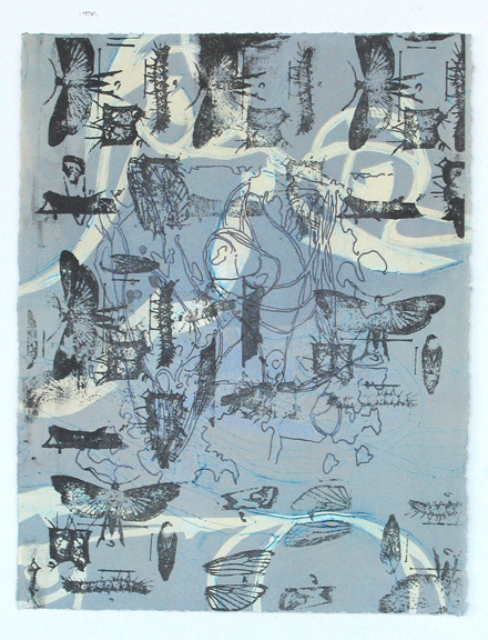 """Stages, 14""""x12"""" lithography and releif"""