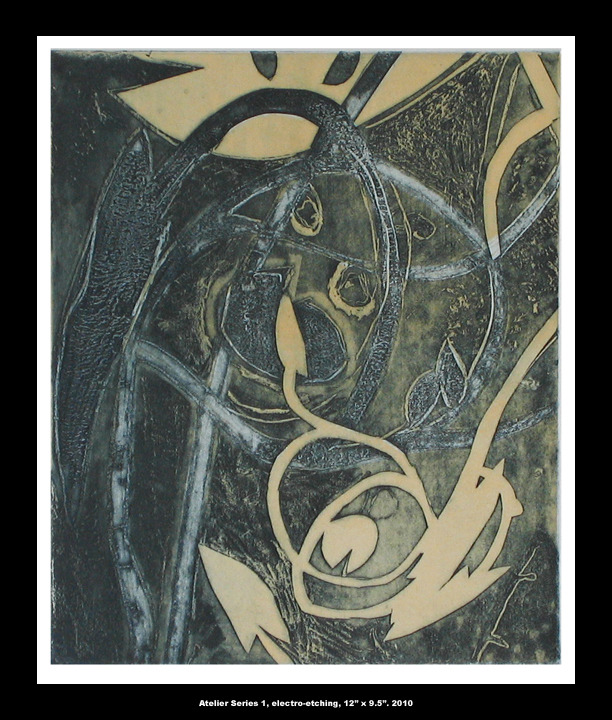 """Atelier, 12"""" x 8.5"""", electroetching"""