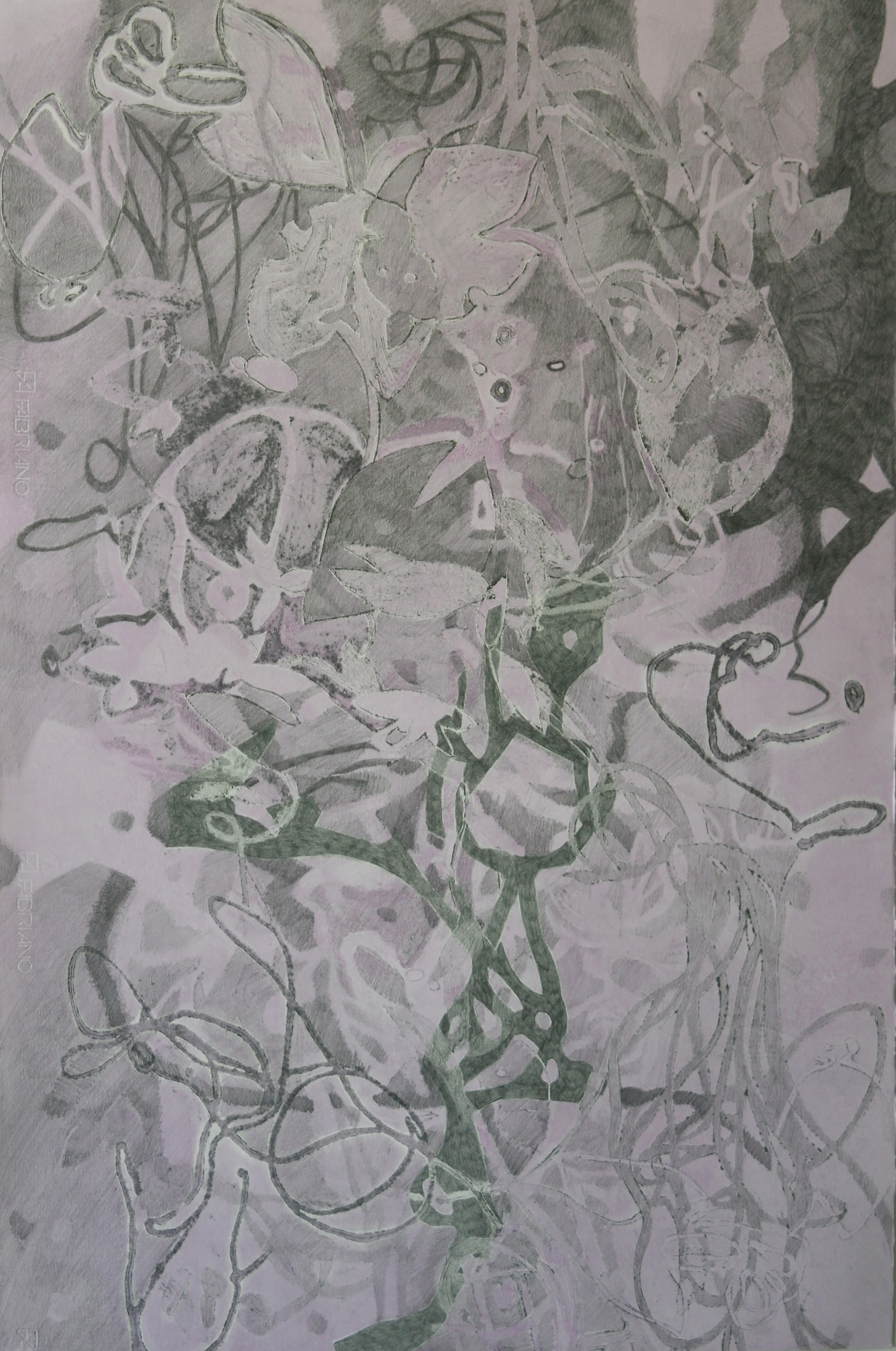 "Swamp 2, 30"" x 22"" Intaglio, relief and graphite hand drawing"