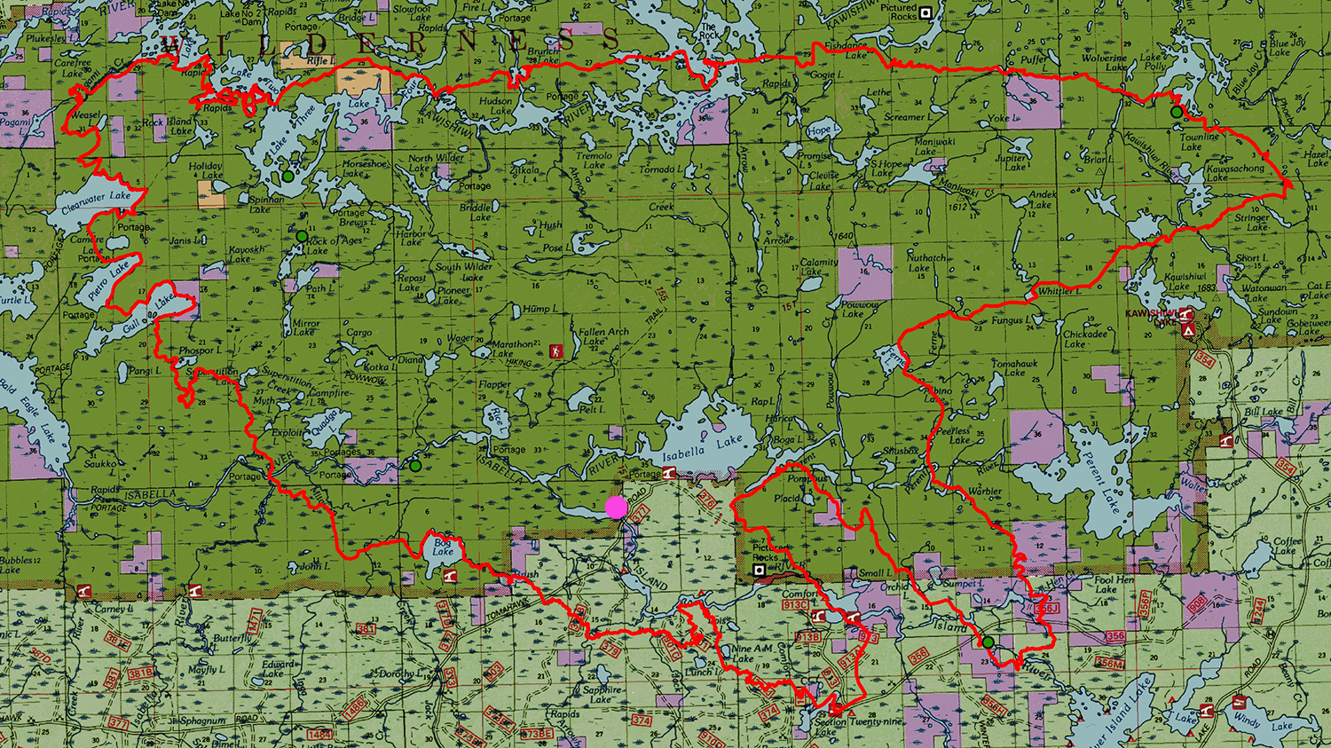 Outline of the Pagami Creek Fire Area with dot indicating my photography locations. (Map courtesy of Lee Frelich, University of Minnesota.)