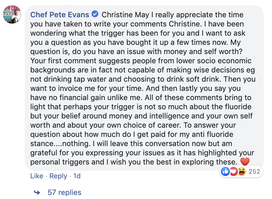 7A. Pete Evans's final gaslighting response to Facebook dialogue with Christine May 22/08/19