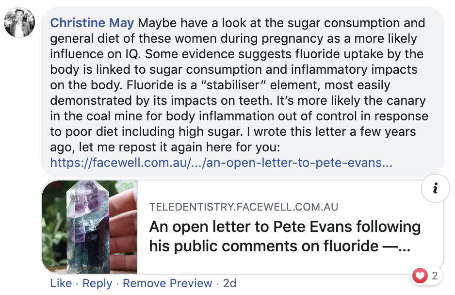 2A. Initial response by Christine May to Pete Evans' latest rant