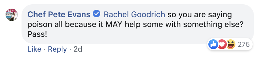 3B. Pete Evans' response to dentist Rachel Goodrich's comment falsely reframes and paraphrases her comments