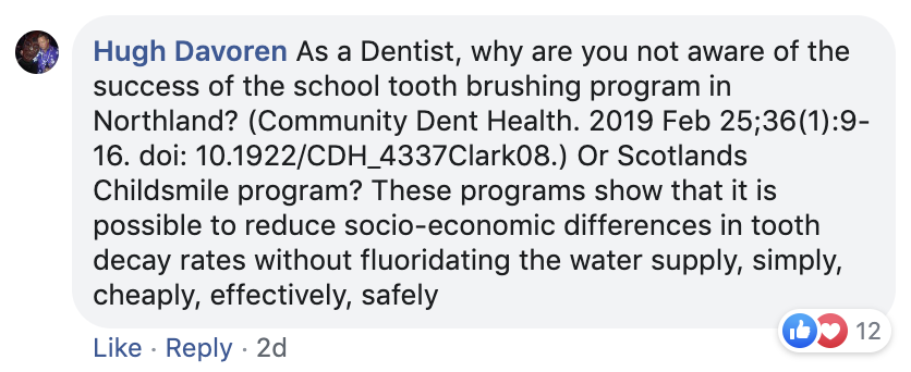 3C. A response to dentist Rachel Goodrich's comment that brought comment from Pete Evans (see Fig. 3D)