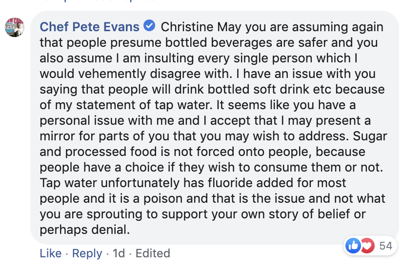 5C. Pete Evans response to Christine's comment 5A, 5B.