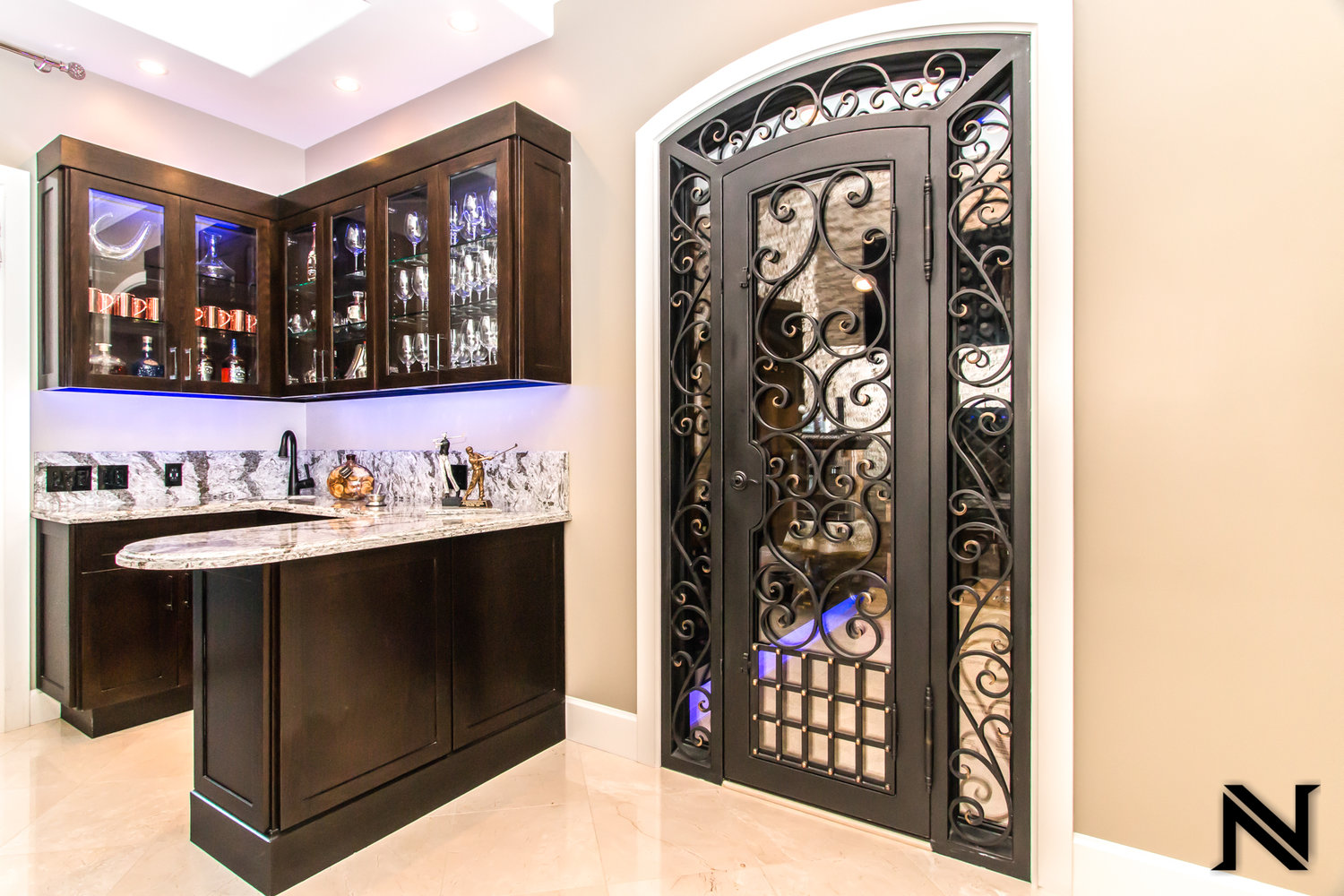 Custom Designed, Hand Forged Wine Cellar Iron Door in Orange County, California