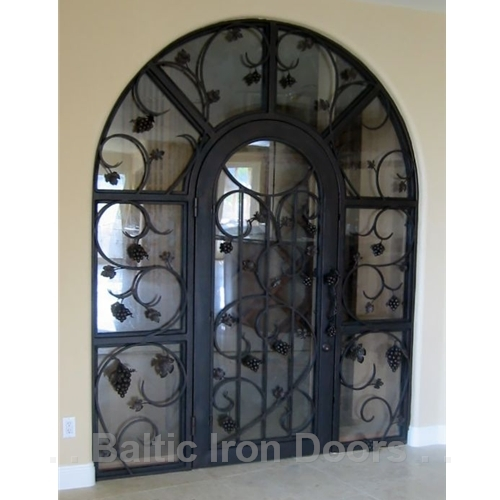 Custom Designed, Hand Forged Wine Cellar Iron Door in Coto De Caza, California
