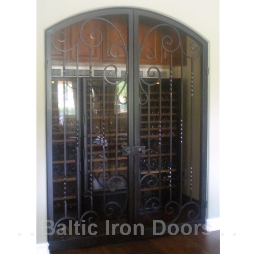 Custom Designed, Hand Forged Wine Cellar Iron Door in Bel Air, California