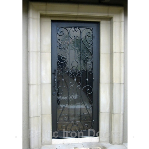 Custom Designed, Hand Forged Wrought Iron Door in Beverly Hills, California