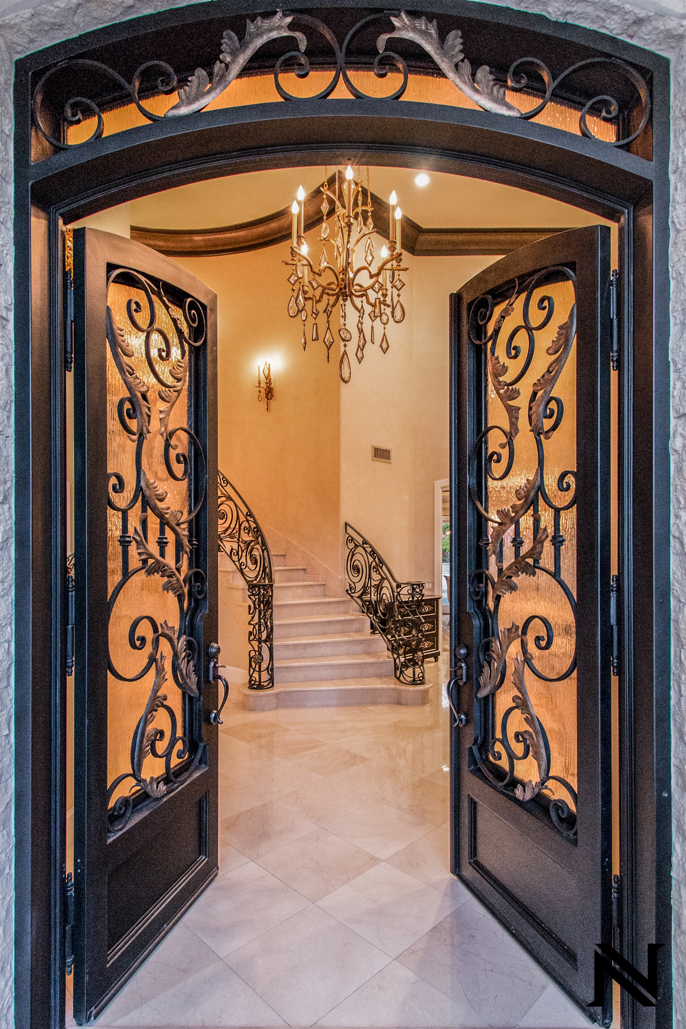 Beautiful, Hand-Forged Wrought Iron Front Entry by Baltic Iron Doors