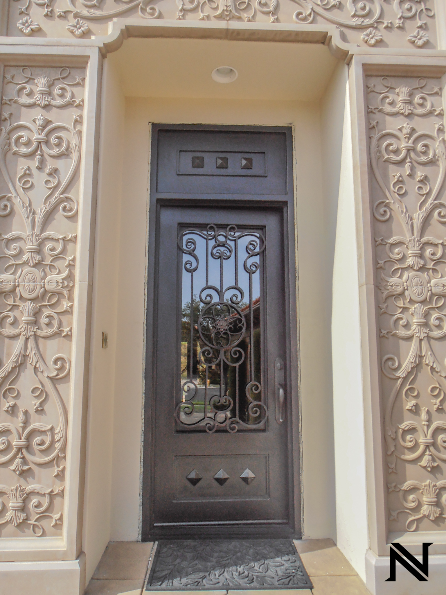 Custom Designed, Hand Forged Wrought Iron Door in Shady Canyon, California