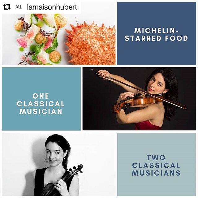 """#Repost @lamaisonhubert (@get_repost) ・・・ If we just had 2 chefs with custom menus, 5 local artisans, and one acclaimed Swiss violinist, it just wouldn't be enough. So we got two! 🎻🎻 - For a Geneva night you'll never forget go to la-maison-hubert.com/events or click """"Reserve"""" right here. ... Si on avait eu que 2 chefs, de la haute gastronomie, 5 artisans locaux, et une musicienne professionnelle suisse 🇨🇭 cela n'aurait pas suffit. On a donc rajouté une musicienne 👩🎤 - Pour une soirée inoubliable sur Genève, rendez-vous sur la-maison-hubert.com/evenements ou cliquer """"Reserve"""" ici directement! 🎻🎹 ... #musically🎶 #geneve🇨🇭 #rhapsodyproductions #musicians #liveconcert #artists #violinist"""
