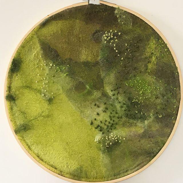 Felt and needle work. Love doing this! #nature #textileart #needlecraft #felt #beautifulcolors #greens #arttextile