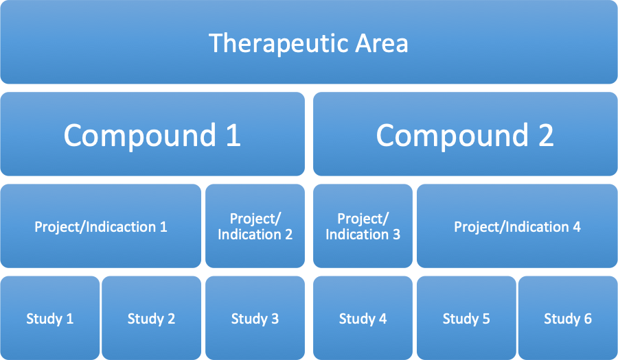 General structure of studies within projects/indications for different compounds in various therapeutic areas
