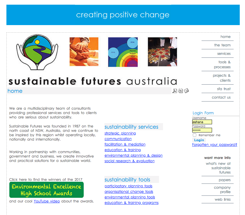 Old Sustainable Futures Website circa 2004