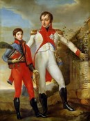 Louis Bonaparte (1778-1846) Frère de Napoléon Roi de Hollande avec son fils le futur empereur des Français, Napoléon III