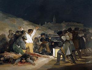 El Tres de Mayo   Artiste: Francisco de Goya (1746-1828) L'insurrection contre les Français et l'exécution de patriotes espagnols le 3 mai 1808.