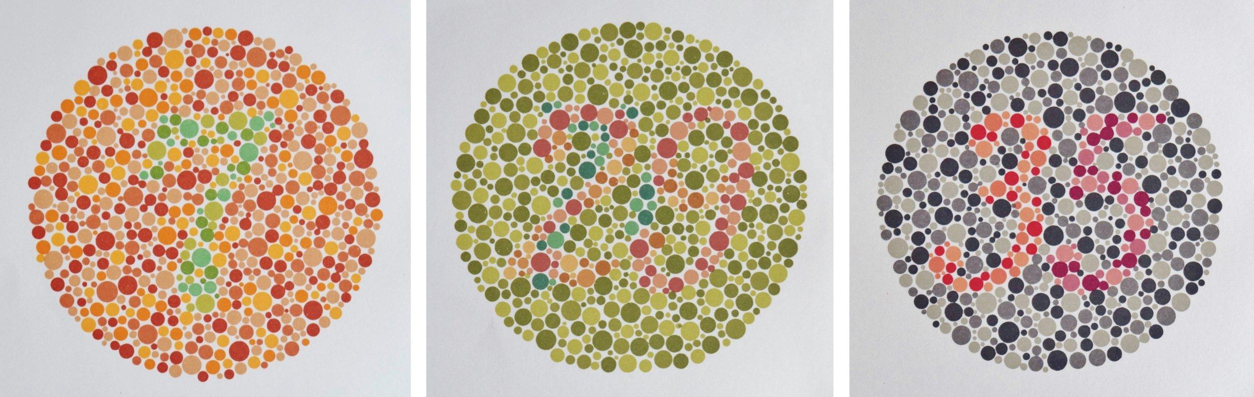 Ishihara-Tafeln zum Testen des Farbensehens