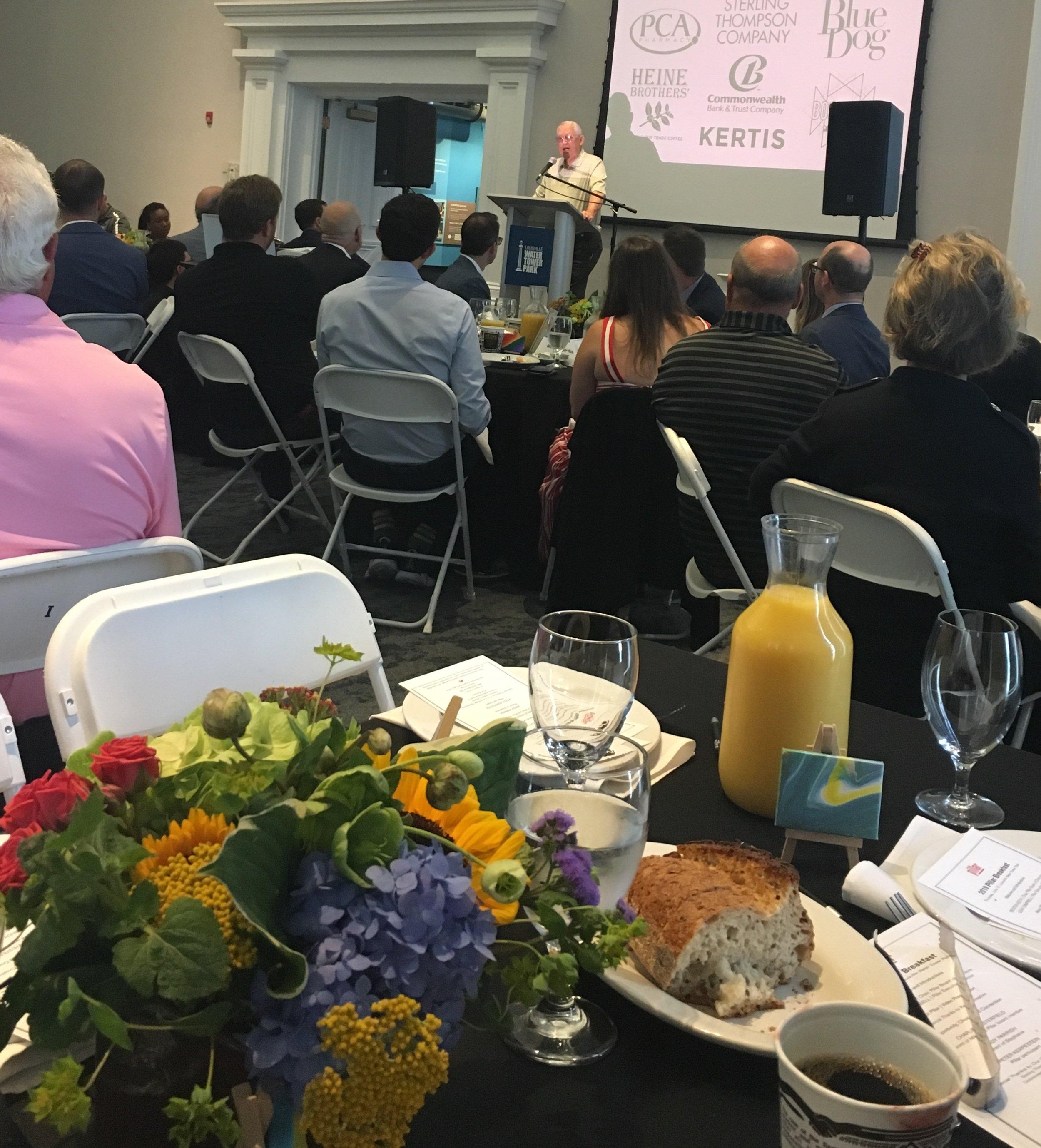 Pillar parent and board member Charlie Westerfield speaks at the Pillar Breakfast June 27.