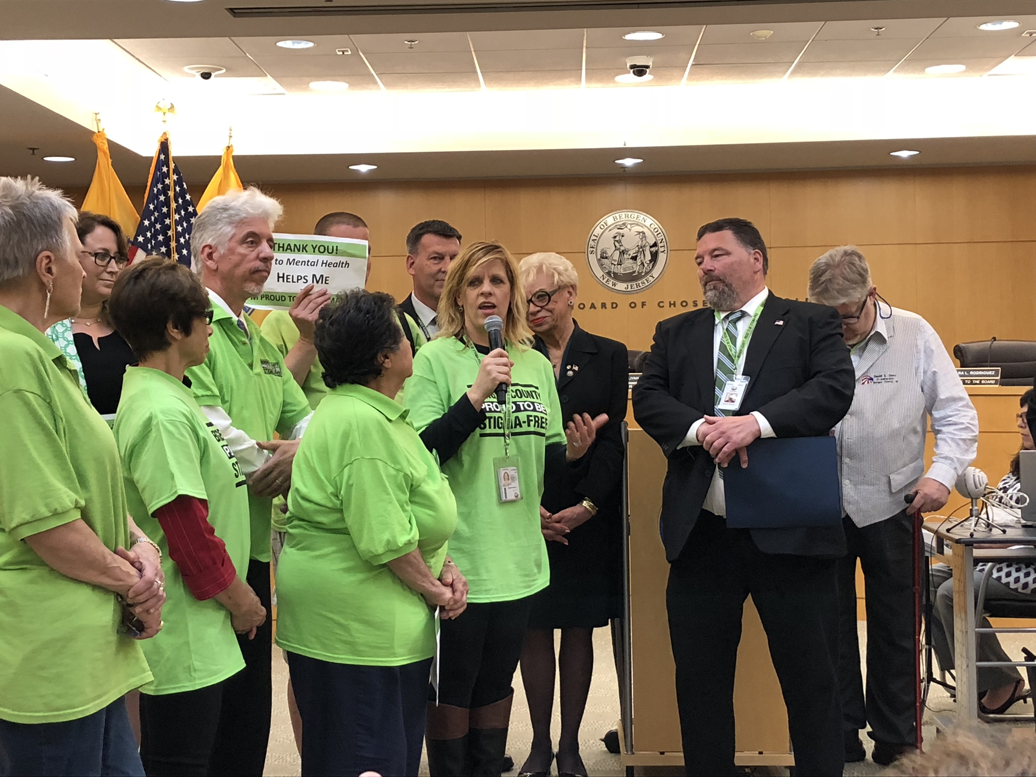 Michele Hart-Loughlin honored for her dedication and success of Bergen County's Stigma-Free movement. Presented by BC  Board of Freeholders