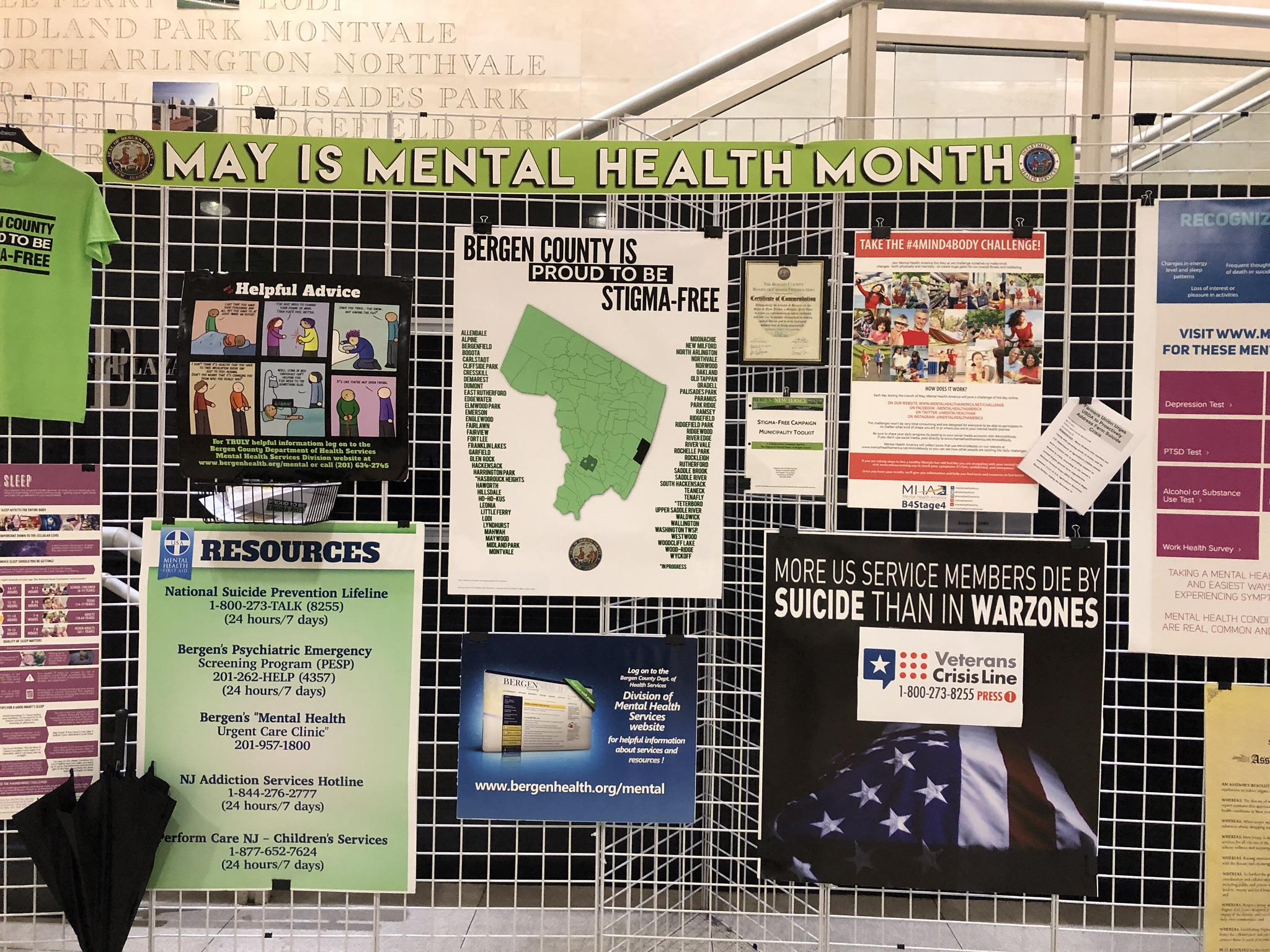 Bergen County Stigma-Free exhibit at Bergen County Freeholder's meeting