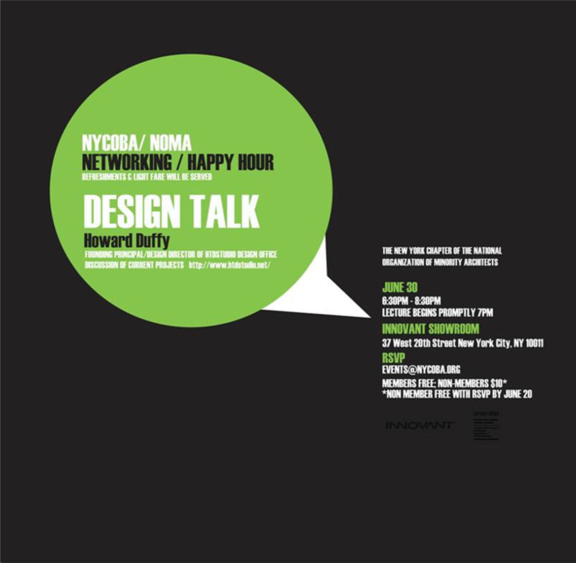 "Innovant Hosts ""Design Talk"" with Howard Duffy 6:30 - 8:30     rsvp by June 20 for free admission: events@nycoba.com"