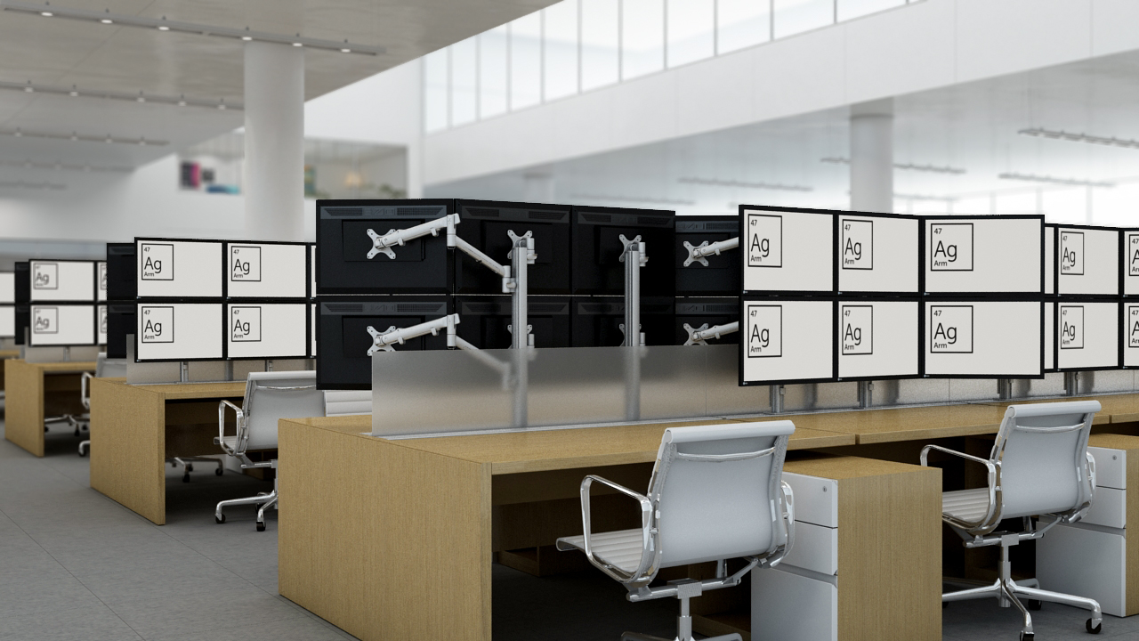 Trading Desk Display Support - Innovant's Ag Monitor Arms are ideal for multi-display support on today's trading floors. From 24