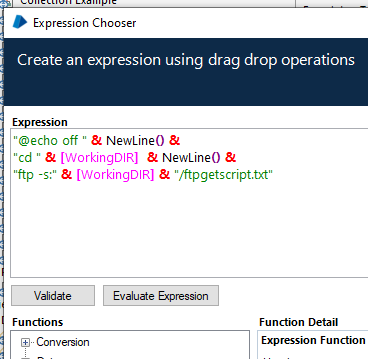 Expression Chooser - dynamically created cmd script file