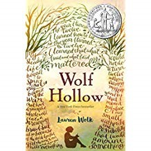 Wolf Hollow - Lauren WolkDuring World War II, Annabelle lives on a farm in a rural area of Pennsylvania. Her quiet life changes when a new girl, Betty, moves nearby to live with her grandparents. Betty proves herself to not only be a bully to Annabelle, but to Toby who is a World War I veteran who lives in a smokehouse near Annabelle's farm. Betty lies and blames Toby for bad things that she did. Soon Annabelle has to be brave to stand up to what Betty does.