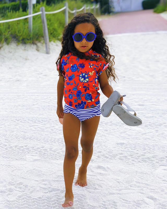 #WCW alllllll day. @janieandjack suit and sunnies 🕶👙💙 Mom Tip: Hit the end of season sales at Janie & Jack  for the CUTEST swimsuits for next season ... and literally 3/4 the price  if not more than that!  #MiamiBae 😍👧🏽 #WomanCrushWednesday